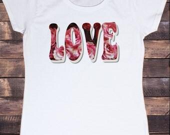 Women's White T-Shirt With Love Print - Funky 80's Retro Print Roses Flowers TSG7