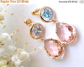 SALE Wedding Jewelry, Cubic Zirconia and Peach Earrings, Bridesmaids Jewelry, Champagne Cz, Blush Cz, Gold Earrings, Mother's Gift, Post, Da
