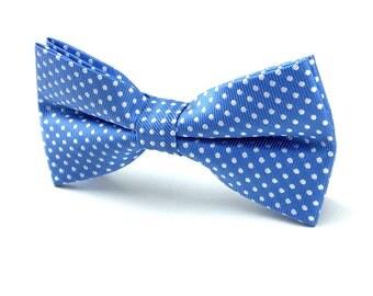 MensSky Blue with White Polka Dot Bowtie. Blue Bowtie. Pre-Tied Bowtie. Formal Bowtie. Party Bowtie Necktie. Wedding Tuxedo Bowtie