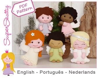 Felt pattern The Lovely Angels, softie pattern doll, plush pattern Christmas, pdf sewing pattern fairytale by Superskattig