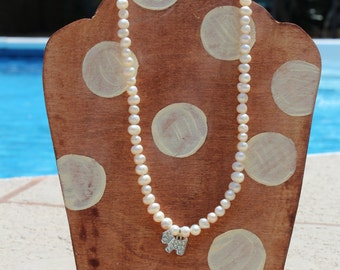 READY TO SHIP Freshwater Pearl Necklace with Dog Charm