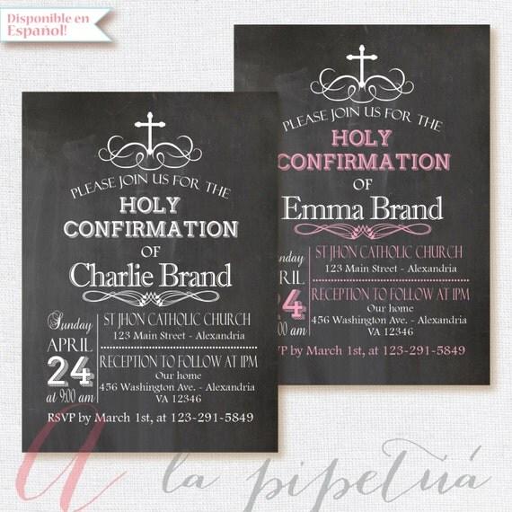Chalkboard invitation Confirmation Invitation Holy – Chalkboard Invitation