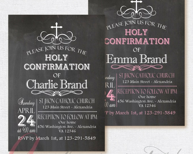 Chalkboard invitation. Confirmation Invitation. Holy Confirmation. Printable Confirmation invite. Chalkboard Holy Confirmation.