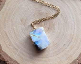 Rainbow Moonstone Necklace - Rainbow Moonstone - Raw Rainbow Moonstone-Moonstone Jewelry - June Birthstone - Moonstone Necklace - Moonstone