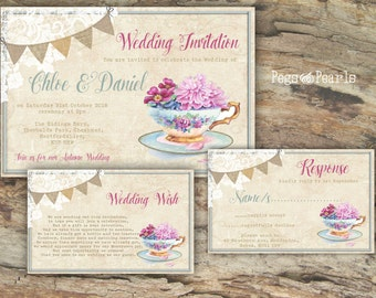 Personalised Rustic Lace & Bunting Summer Teacup Pink and Blue Wedding Invitations