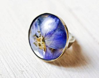 Real blue flower resin ring