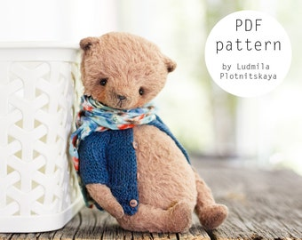 OOAK Artists Teddy Bear pattern, teddy pattern, teddy bear, soft toy pattern, viscose bear, 5.4 inches