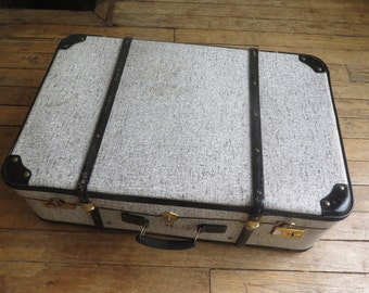 French old and vintage suitcase - with brass - 1950s