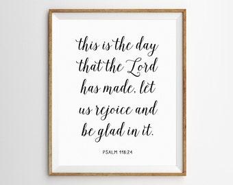 Scripture Art, Christian Art, Scripture Print, Bible Verse Printable, Christian Print, Bible Verse Art, Psalm 118, Black and White Prints