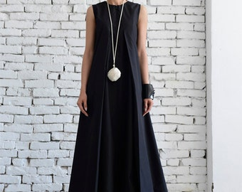 Black Maxi Dress/Loose Long Dress/Plus Size Kaftan/Long Black Dress/Sleeveless Black Dress/Maxi Black Dress/Oversize Black Kaftan/Maxi Dress