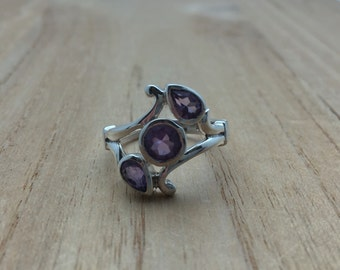 Sterling Silver Amethyst Ring // 925 Sterling Silver // Baroque Setting