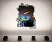 Earth Space Brick Wall 3D Wall Art Sticker Decal  Print Transfer Kids Mural WAPB107B