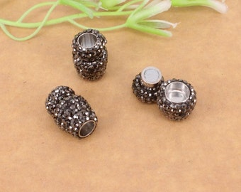 10-20pcs Crystal Rhinestone Strong Magnetic Clasps End Caps Inner diameter 6mm for making Leather Bracelet jewelry findings