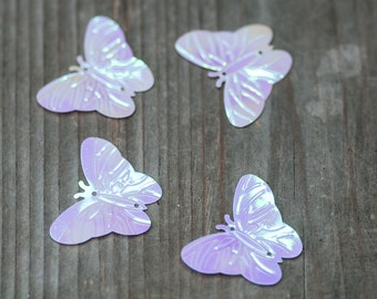 100pics Pinky White Butterfly Sequins, Iridescent White Sequins, Wedding Sequin, 2 hole Sequins, Sewing Sequin, Butterfly Confetti, Confetti