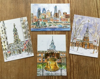 "Philadelphia Postcards. Glossy 4.25"" x 6.""  Print of original painting. Packets of 4, 8, and 12 cards of your choice."