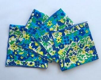 Set of Four Vera Designed Floral and Bird Linen Napkins