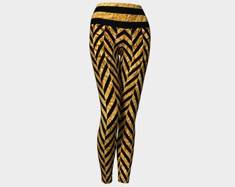 HERRINGBONE Yoga Leggings Gold/Black/Pants/Women/Teen/Ladies/Yoga/Exercise/Fashion/Wearable Art/Clothing/Ladies/Hand Sewn/Canada/XS S M L XL