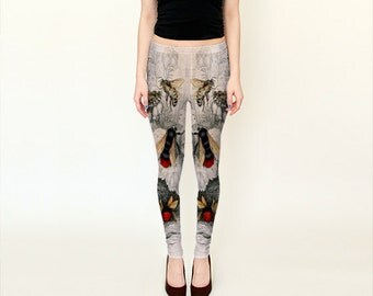 Victorian Bees  Leggings  Insect/Nature/Flowers/Vintage Print/Wearable Art-Women-Ladies/Teen/Pants-Clothing-Clothes-Hand Sewn-XS S M L XL