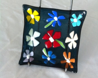 """Steel Blue Fused and Slumped Glass Flower Dish, 6"""" Square, Multicolours"""