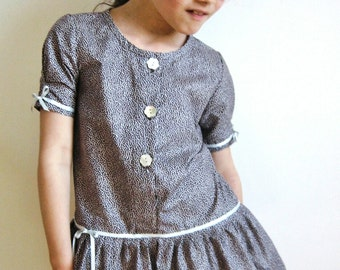 Short dress at wheel, tunic dress in cotton, girl dress with short sleeves, tunic of summer and its silver ribbons, printed cotton dress