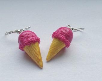 Earrings ice cream raspberry - Couleur-lavande