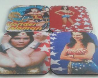 Wonderful Set Of Four Wonder Woman Coasters, Wonder Woman, Drink Coasters, Retro, Rubber Coasters,  Made By Mod.