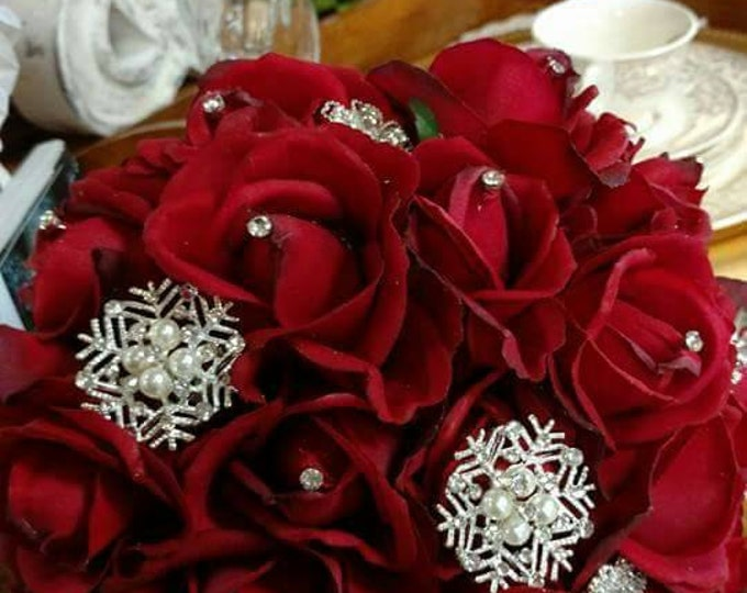 Red Rose Brooch Bouquet