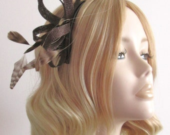 CHOCOLATE BROWN FASCINATOR, Made of sinamay, with Tonal stripped coque Feathers, on comb, Colour Chocolate and Ivory
