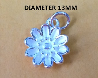 Sterling Silver Daisy Charm, Daisy Charm for Necklace Bracelet Earring, 925 Silver Daisy Charm, Flower Charm - HY69