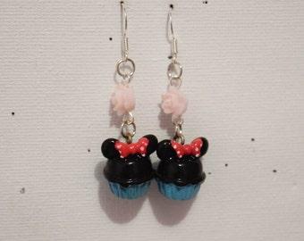 """Blue Cupcake"" earring Pearl flower"