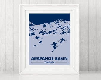Arapahoe Basin Art Print ~ A-Basin Colorado ~ Gifts for Skiers ~ Colorado Art ~ Skier Gift ~ Colorado Art ~ Arapahoe Basin Poster ~ A Basin