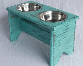 """Elevated Dog Bowls Stand - Wooden - 2 Bowls - 300 mm / 12"""" Tall - Raised Dog Food and Water Bowls"""