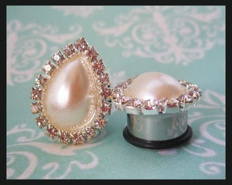 "Pearl and Rhinestone Teardrop Wedding EAR TUNNEL PLUG Earrings you pick gauge size - 0g 00g 1/2"" 9/16"" 5/8"" aka  8mm 10mm 12mm 14mm 16mm"