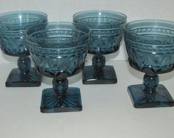 Vintage Set of 4 Blue Glass Goblets / Wine Glasses Stemware Turquoise