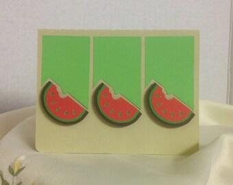 Watermelon Card , Blank, summer , spring , picnics, parties , family, friends, fun, FREE CONFETTI