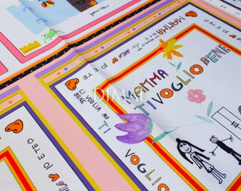 Children's drawings twill fabric #4445
