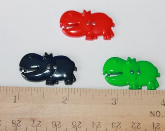 Hippo shape buttons, cute assorted colors children buttons, animal shape buttons, hippo buttons, zoo animal shape buttons, baby and children