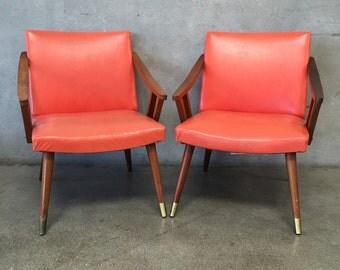Pair of Vintage Mid Century Murphy Miller Orange Chairs (ARZTDP)