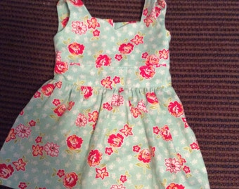 Green floral dress for American girl dolls