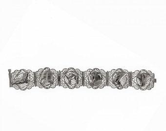 Vintage Egyptian revival 800 silver handmade filigree panel bracelet. (brvs915)