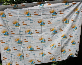 Soviet Kids Cotton Fabric, Russian Vintage Kids Fabric Made in USSR Collectible