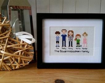 Custom Family Cross Stitch Portrait / Housewarming Gift / Custom Portrait / Custom Cross Stitch / Birthday Gift