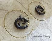 Brass Tribal Earrings, Tribal Wood Earrings, Narra Wood Earrings, Gypsy Hoop Earrings, Tribal Spiral Earrings, Spiral Wood Earrings, Spirals