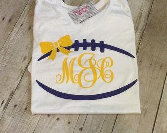 Football monogramed lsu shirt