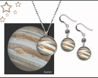 Jupiter pendant on sterling silver chain with bead earrings and with descriptive photo card in black gift box