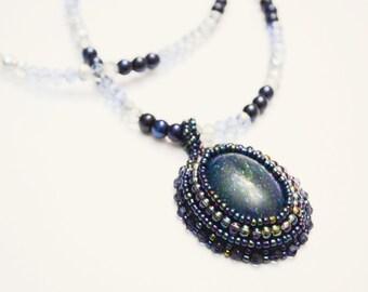 Blue Lapis Malachite Necklace, Handmade Blue Beaded Cabochon Neckace, Beautiful Blue and White Beaded Necklace