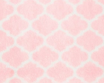 NEW Pastel Pink White Lattice Minky Fabric Pink and white blanket Baby Pink Blanket  Baby Girl Blanket Baby girl nursery Pastel pink Bedding