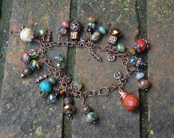 Rustic bracelet with bronze charms, czech glass beads and jasper