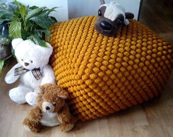 Crochet stuffed mustard/yellow ottoman / Nursery pouf / Knit pouf ottoman / Wool chair