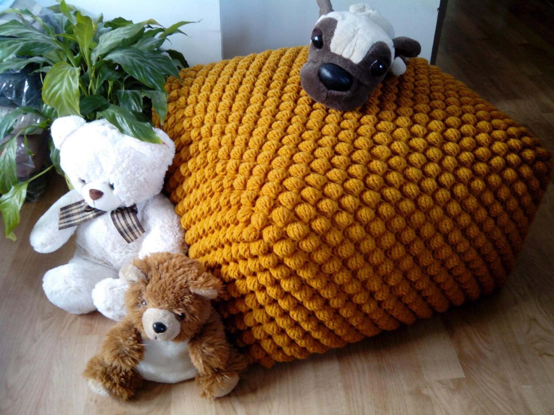 crochet stuffed mustard yellow ottoman nursery pouf knit. Black Bedroom Furniture Sets. Home Design Ideas